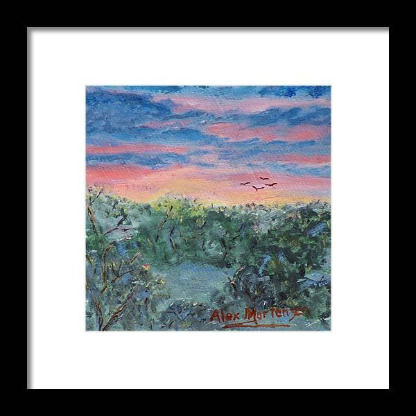 Saunrise Sunset Landscape Clouds Nature Birds Evening Morning Framed Print featuring the painting Sunrise At Quialigo by Alex Mortensen