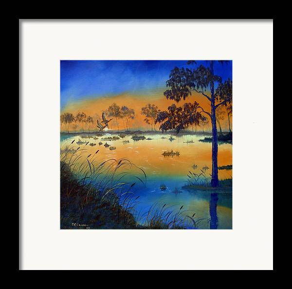 Sunrise Framed Print featuring the painting Sunrise At The Lake by SueEllen Cowan