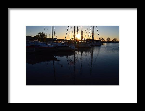 Abstract Framed Print featuring the photograph Sunrise At The Marina by Lyle Crump