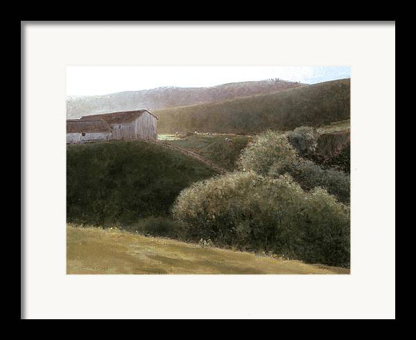 Landscape Framed Print featuring the painting Sunrise Central California by Laura Wynne