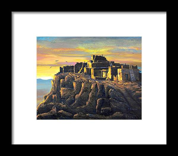 Landscape Framed Print featuring the painting Sunrise Citadel by Brooke Lyman