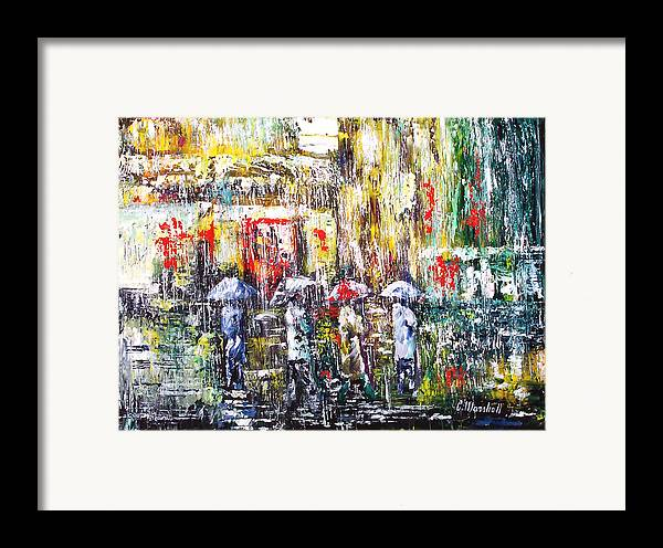 Art Framed Print featuring the painting Sunrise City Rain by Claude Marshall