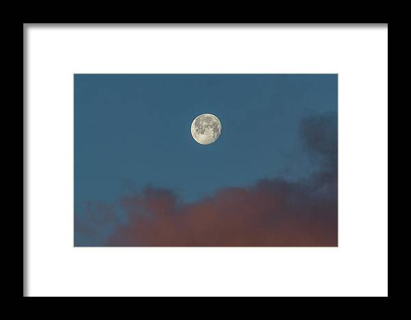 Moon Framed Print featuring the photograph Sunrise Colored Clouds And A Setting Moon by Tony Hake