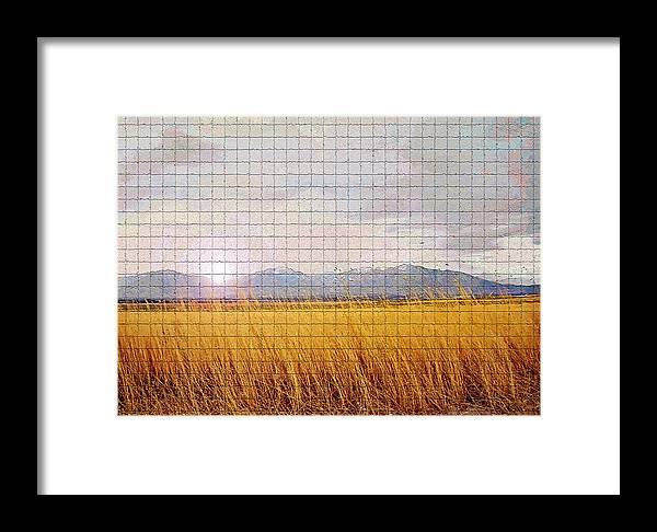 Sunrise Framed Print featuring the photograph Sunrise Field 1 - Mosaic Tile Effect by Steve Ohlsen
