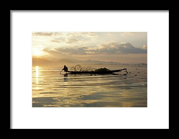 Asia Framed Print featuring the photograph Sunrise Fisherman by Michele Burgess