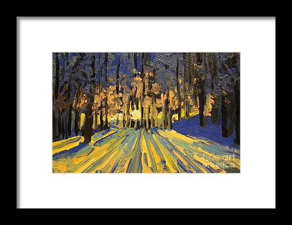 Landscape Framed Print featuring the painting Sunrise Forest Modern Impressionist Landscape Painting by Patricia Awapara