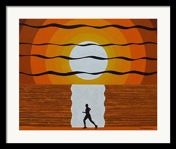 Jogger Framed Print featuring the painting Sunrise Jogger by James Cordasco
