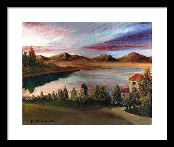 Lake Landscape Framed Print featuring the print Sunrise Lake by George Markiewicz