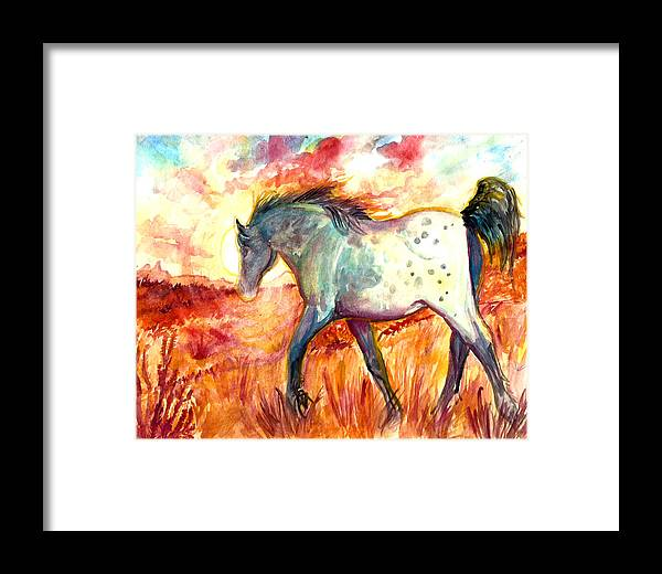 Horse Framed Print featuring the painting Sunrise Mare by Jenn Cunningham