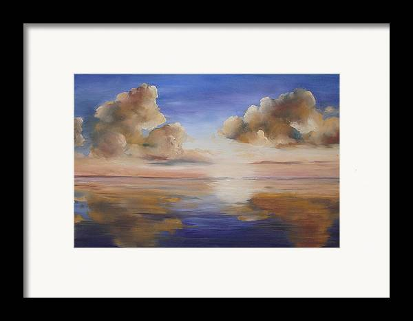 Landscape Framed Print featuring the painting Sunrise On The Rio Grande by Maxine Ouellet