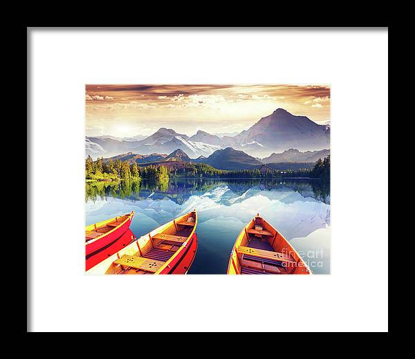 Alp Framed Print featuring the photograph Sunrise Over Australian Lake by Thomas Jones