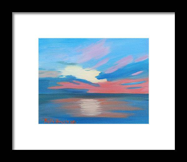 Fine Art Framed Print featuring the painting Sunrise Over Ocean City Maryland by Ruth Housley