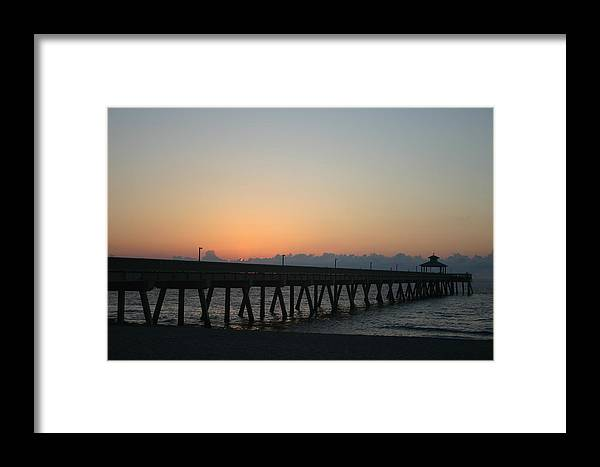 Landscape Framed Print featuring the photograph Sunrise Pier by Dennis Curry