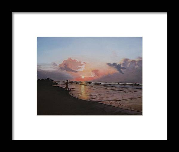 Beach Framed Print featuring the painting Sunrise Silhouette by Cynthia Ablicki