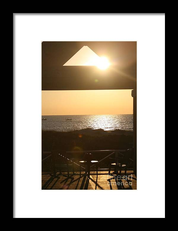Sunrise Framed Print featuring the photograph Sunrise Through The Pavilion by Nadine Rippelmeyer
