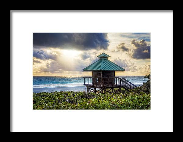 Clouds Framed Print featuring the photograph Sunrise Tower At The Beach by Debra and Dave Vanderlaan