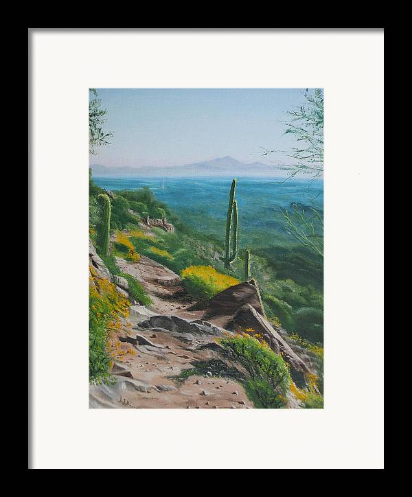 Landscape Framed Print featuring the painting Sunrise Trail by Lea Novak