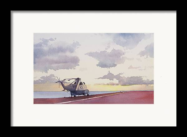 Navy Framed Print featuring the painting Sunrise Uss John F. Kennedy by Philip Fleischer