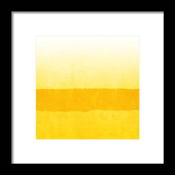 Abstract Framed Print featuring the painting Sunrise- Yellow Abstract Art By Linda Woods by Linda Woods