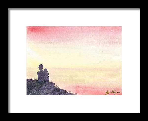 Framed Print featuring the painting Sunrize Couple by Amadrys Art