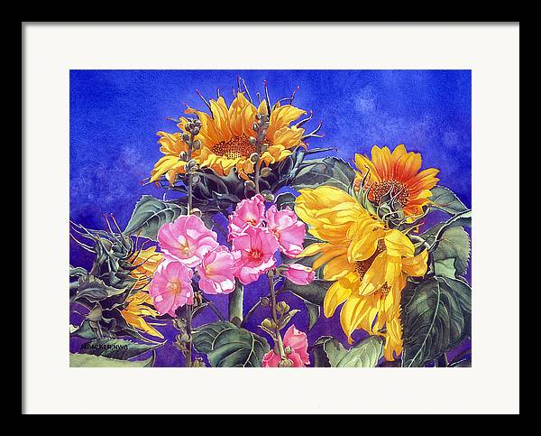 Floral Framed Print featuring the print Sunseekers by Mary Backer