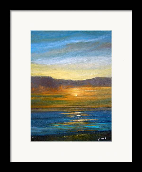 Seascape Framed Print featuring the painting Sunset 9 by Jeannette Ulrich