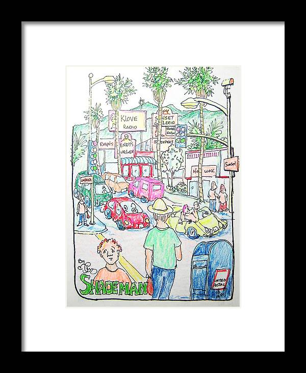 Pencil Framed Print featuring the drawing Sunset And Labrea In Hollywood by Robert Findley