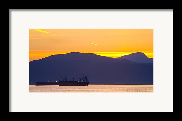 Vancouver Framed Print featuring the photograph Sunset And Tanker by Paul Kloschinsky