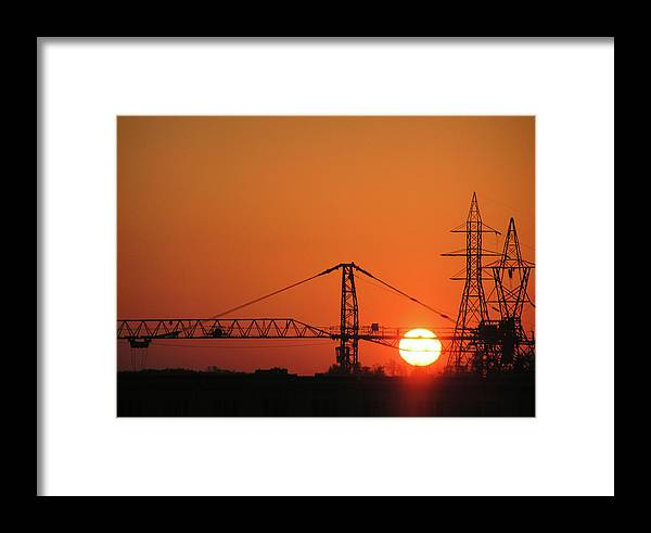 Sunset Framed Print featuring the photograph Sunset And Tower Crane by Richard Mitchell