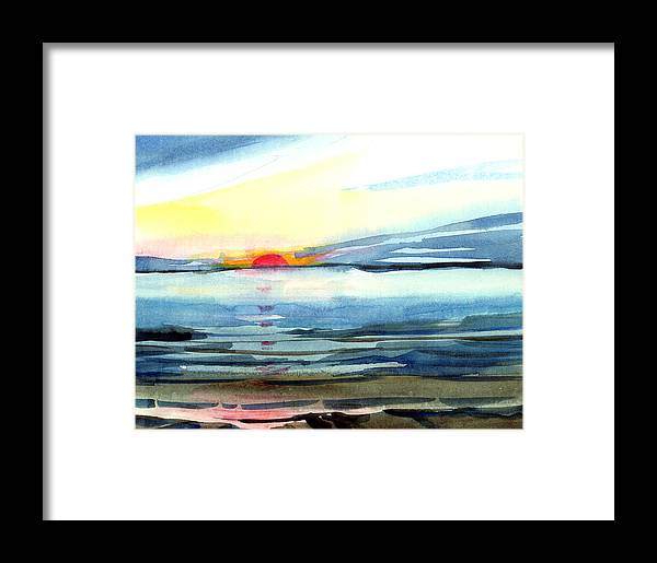 Landscape Seascape Ocean Water Watercolor Sunset Framed Print featuring the painting Sunset by Anil Nene