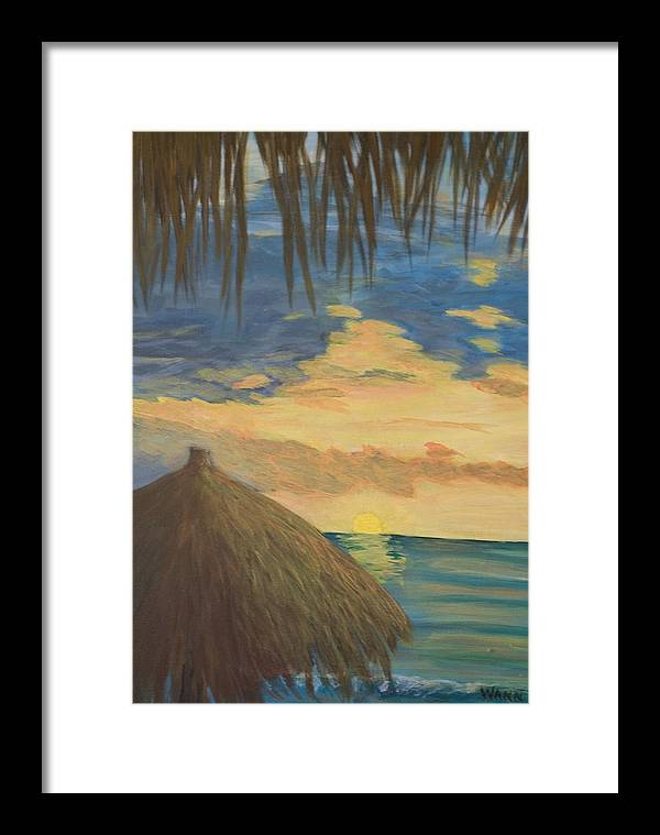 Seascape Framed Print featuring the painting Sunset by Anita Wann