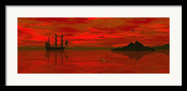 Bryce 3d Scifi Fantasy Windjammer sailing Ship Sailing Framed Print featuring the digital art Sunset Arrival by Claude McCoy