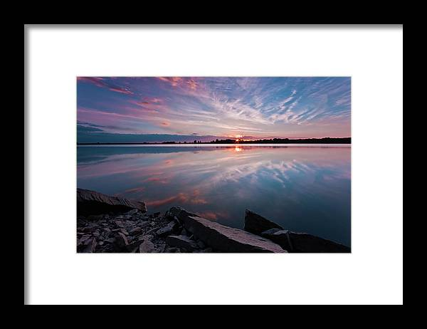 Sunrise Framed Print featuring the photograph Sunset at Anglezarke Reservoir #1, Rivington, Lancashire, North West England by Anthony Lawlor