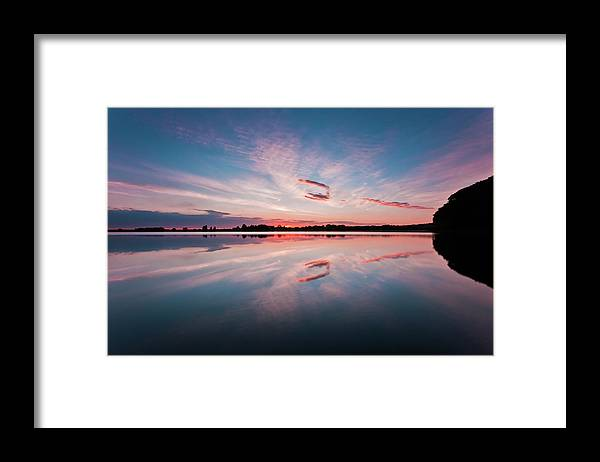 Sunrise Framed Print featuring the photograph Sunset at Anglezarke Reservoir #3, Rivington, Lancashire, North West England by Anthony Lawlor