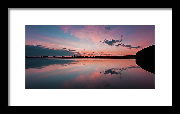 Sunrise Framed Print featuring the photograph Sunset at Anglezarke Reservoir #4, Rivington, Lancashire, North West England by Anthony Lawlor