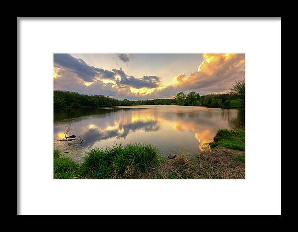 Sunset Framed Print featuring the photograph Sunset At Community Lake #8 by Mark McDaniel