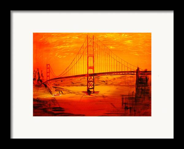 Sunset At Golden Gate Framed Print featuring the painting Sunset At Golden Gate by Helmut Rottler