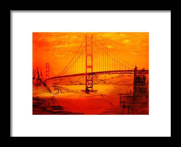 Sunset At Golden Gate Framed Print featuring the painting Sunset At Golden Gate by Helmut Rottler