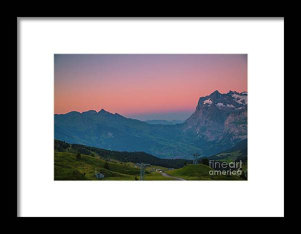 Switzerland; Berner Oberland Framed Print featuring the photograph Sunset High Above Grindelwald by Gemblue Photography