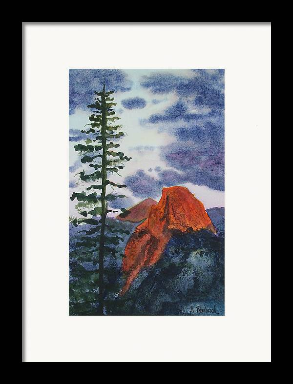 Yosemite Framed Print featuring the painting Sunset At Half Dome by Ally Benbrook