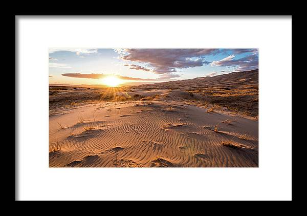 California Framed Print featuring the photograph Sunset At Kelso Dunes by Eric Albright