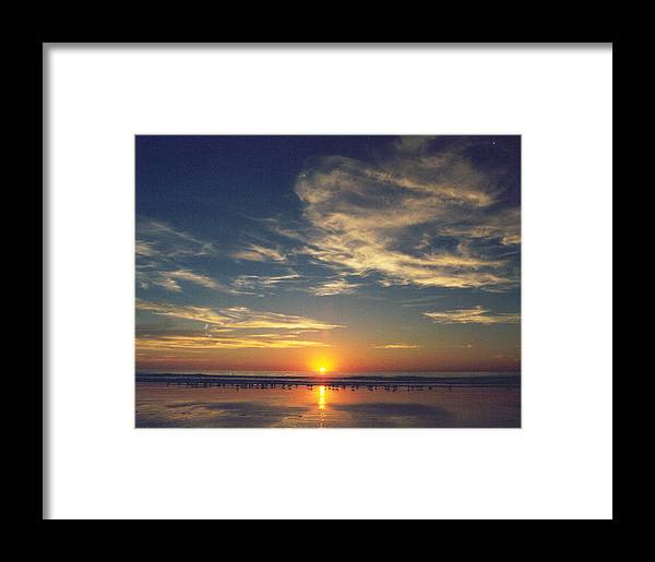 Sunset Framed Print featuring the photograph Sunset At Moonlight Beach by PJ Cloud