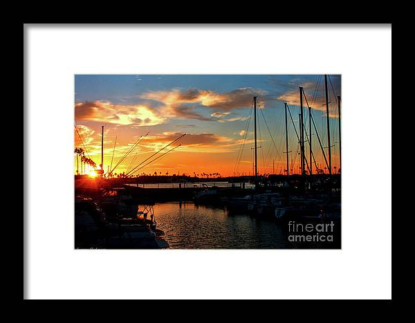 California Framed Print featuring the photograph Sunset At Newport Beach Harbor by Tommy Anderson