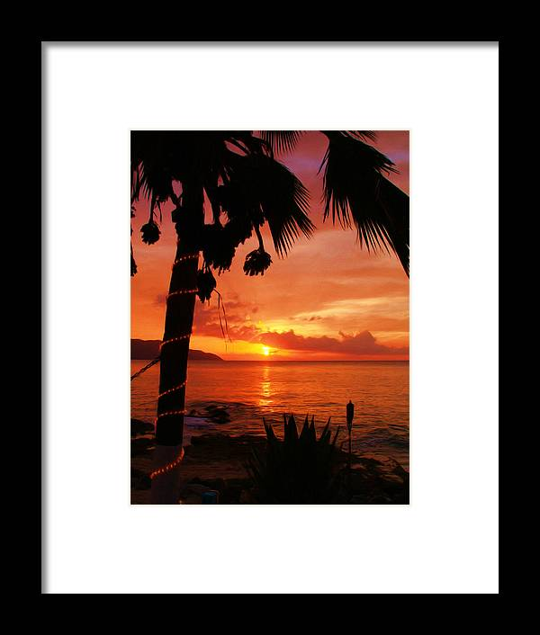 Sunset Framed Print featuring the painting Sunset At Off The Wall by Linda Morland
