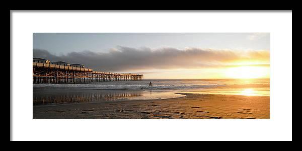 Beach Framed Print featuring the photograph Sunset At Pacific Beach Pier - Crystal Pier - Mission Bay, San Diego, California by Ryan Kelehar