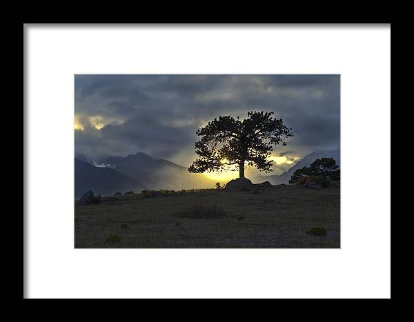 Fine Art Sunset Picture. Fine Art Sunset Greeting Cards. Rocky Mountain Park Greeting Cards. Sunset Picture. Rocky Mountain Park Picture. Rocky Mountain Sunset Photography. Stormy Sunset Photography. Sunset Nature Photography. Sunset Nature Mountain Pictures. Fine Art Nature Greeting Cards. Framed Print featuring the photograph Sunset At Rocky Mountain Park Co by James Steele