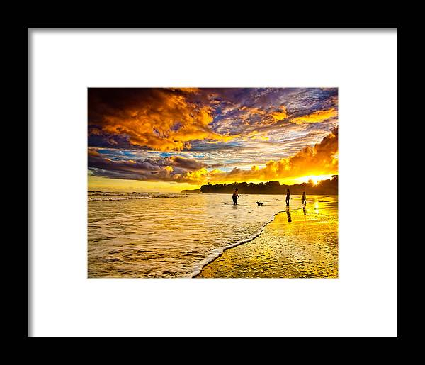 Landscape Framed Print featuring the photograph Sunset At The Coast by Iris Greenwell