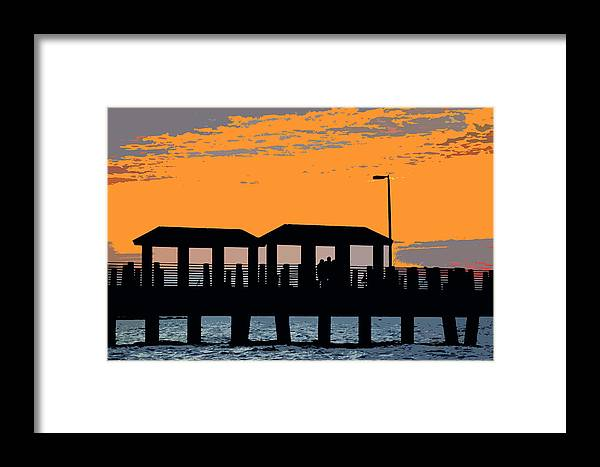 Art Framed Print featuring the painting Sunset At The Fishing Pier by David Lee Thompson