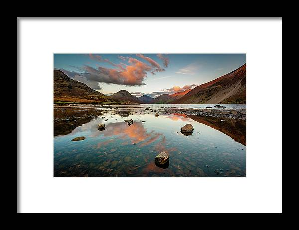 Sunrise Framed Print featuring the photograph Sunset at Wast Water #1, Wasdale, Lake District, England by Anthony Lawlor