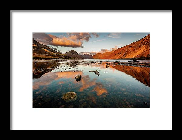 Sunrise Framed Print featuring the photograph Sunset at Wast Water #2, Wasdale, Lake District, England by Anthony Lawlor